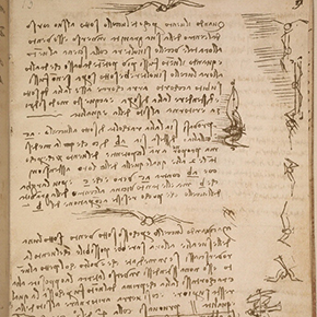 Leonardo da Vinci's Codex on the Flight of Birds on display at Smithsonian in Washington, DC