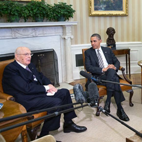 White House Meeting Between Italian President Giorgio Napolitano and President Barack Obama